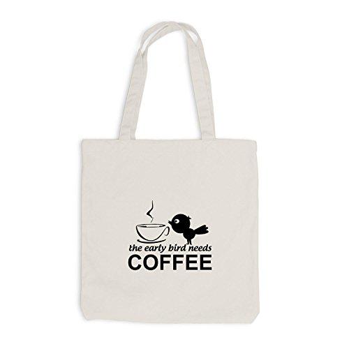 Jutebeutel - Early Bird needs coffee - Früher Vogel Kaffee Beige