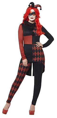 Black Hood Kostüm Robin - Smiffys 44738L - Damen Düsterer Hofnarr Kostüm, Größe: 44-46, schwarz/rot