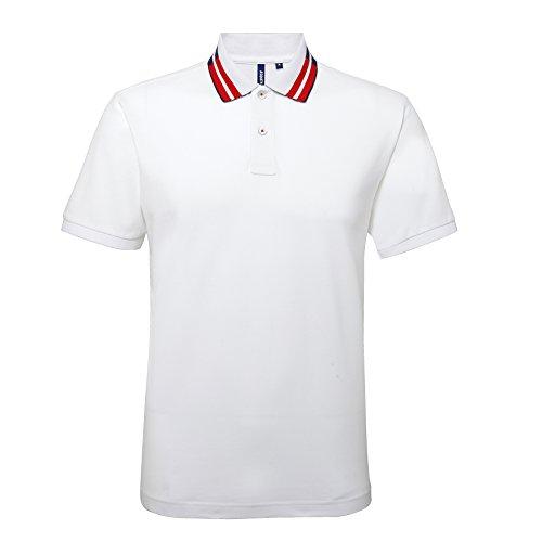 Asquith Fox Herren Poloshirt Weiß/Marineblau/Rot