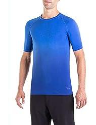 XAED, maglietta sportiva da uomo, colore nero/blu, taglia XL