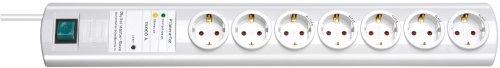 Brennenstuhl Primera-Tec, Steckdosenleiste 7-fach mit Überspannungsschutz und Master Slave Funktion (2m Kabel und Schalter) Farbe: weiß