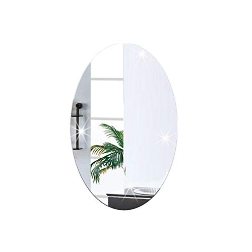 Cosanter 1 Stück Oval Pattern Wandaufkleber Spiegel Feder Spiegel Wandaufkleber Hintergrund Aufkleber für Haus Decoration