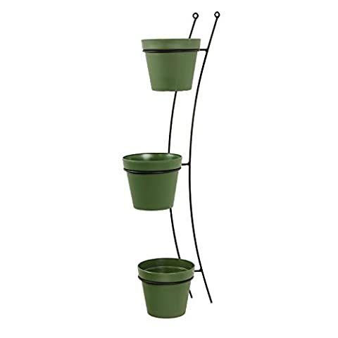 3x Blumentopf Übertopf Topf Patio D 15 cm grün + Aufhänger Wandhalterung Halter