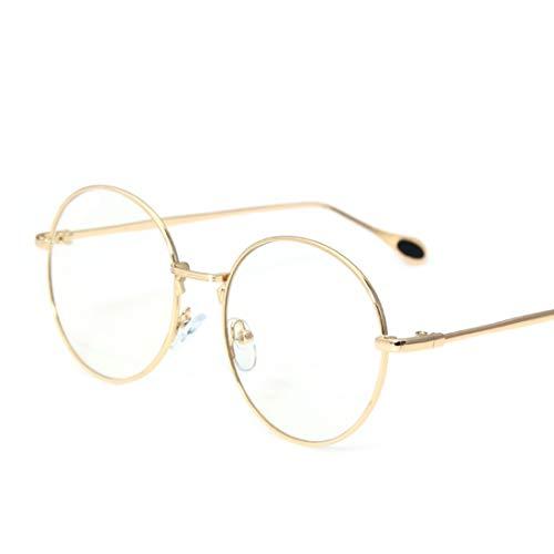 Shiduoli Retro Runde Eyewear Frame Brillen Optischer Rahmen Klare Brillengläser Unisex Stylish (Color : Gold)