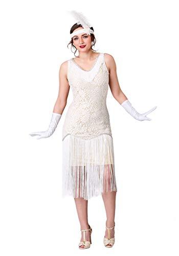 Women's White Fringe Flapper Fancy Dress Costume (Fringe Flapper Kostüm)