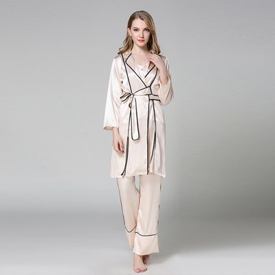 PPOJAS Schlafanzug Luxus Frauen Drei Stücke Bademantel + Pyjamas Sets Weibliche Nachtwäsche Hohe Qualität Damen Dessous Sets Geschenkartikel, Champagner Set, Xl (3 Stück Pyjama Nachtwäsche)