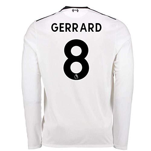 2017-18 Liverpool Away Long Sleeve Football Soccer T-Shirt (Steven Gerrard  8) - Kids by UKSoccershop 2d16bc038