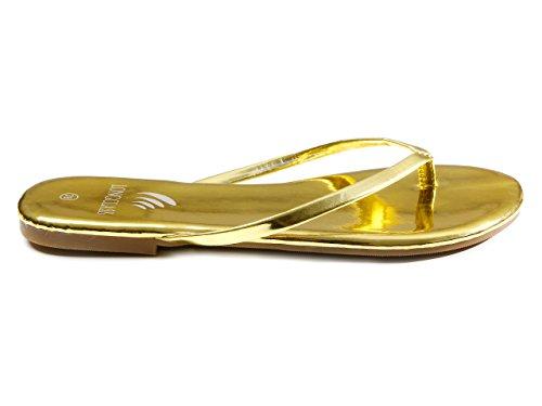 LONGCLASS elegante Damen Flip Flops GOLDLINE, leichte Sandalen Sandaletten mit festem Absatz, bequeme Zehentrenner mit weicher gefüllter Sohle für Sommer Strand Schlendern Relaxen, gold Gold