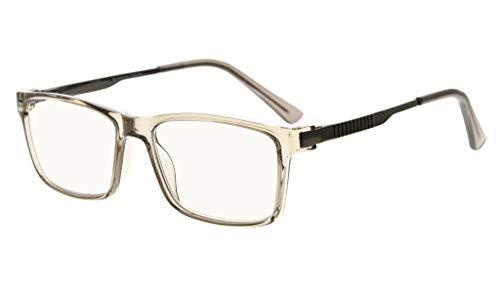 Eyekepper No Line Bifocal Progressive Multifokale Gläser 3 Levels Vision Lesebrillen Amber Getönte Blaue Lichtblockierung (Grauer Rahmen, 2.50)