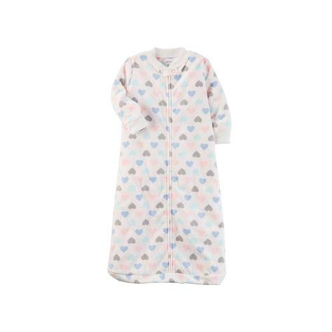 Carter's Baby Girls' Heart Print Sleep Bag ,White,Small