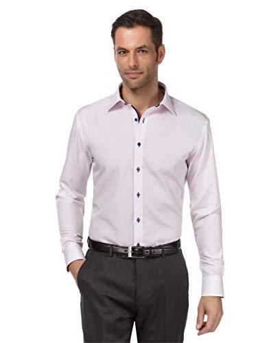 Vincenzo boretti camicia uomo eleganti, taglio normale/regular-fit, in tinta unita con inserti in contrasto - non stiro/non-iron lillà 39/40