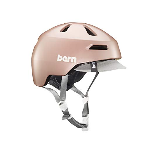 Bern Brentwood 2.0 Satin Rose Gold Visor-Medium Casque Femme, FR : M (Taille Fabricant : M (55,5-59))