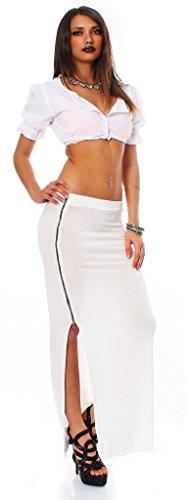 Fashion4Young 10524 maxirock matière stretch pour femme jupe jupe 14 coloris disponibles taille 34/36 Blanc - blanc