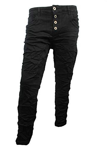 Karostar by Lexxury Denim Stretch Baggy-Boyfriend-Jeans Boyfriend 4 Knöpfe offene Knopfleiste weitere Farben tiefschwarz L-40