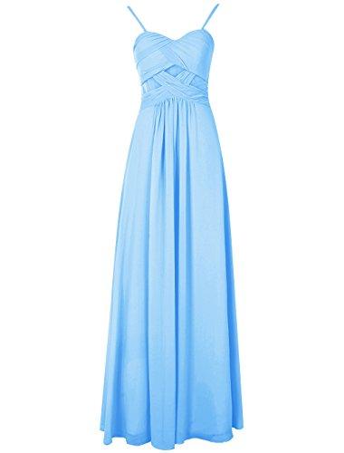Bbonlinedress Robe de soirée Robe de demoiselle d'honneur bretelles spaghetti longueur ras du sol Bleu
