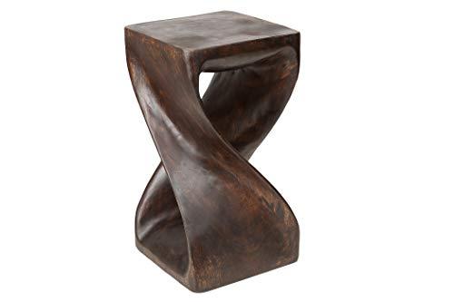 Handelsturm Gedrehter Hocker (schwarz-braun) Massivholz Tisch ca. 50 x 28 x28 cm, Beistelltisch, Blumenständer, dunkel -