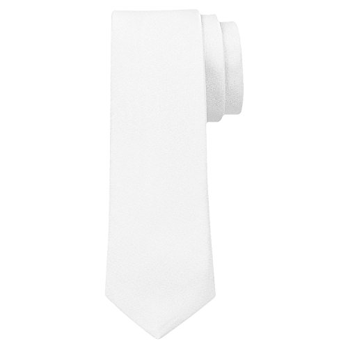 OM3TM TRENDY SKINNY TIE/Modische schmale dünne Krawatte in über 30 Farben Colors Party Business Schlips Handmade Smoking Anzug Unisex, Weiß, ca.140cm x 4,5cm