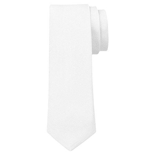 OM3™ K-06 TRENDY SKINNY TIE / Modische schmale dünne Krawatte - WEISS - Party Business Schlips Handmade Smoking Anzug Unisex