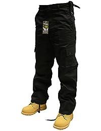 Adultes Uni Pantalon Combat couleur - Noir,taille -W32/L30