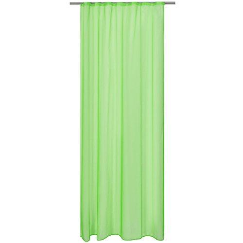 Beautissu Transparenter Kräuselband-Vorhang Amelie - 140x245 cm Grün Uni - Voile Dekoschal Universalband Gardine