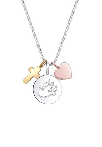 Elli Halskette Panzerkette Kreuz Herz Taube Religion 925 Silber