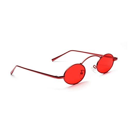 SUNNYJ Sonnenbrille Steampunk Small Frame Sonnenbrille Frauen/Männer Retro Oval Sonnenbrille Metall Rot Rosa Brillen Trendy 84 C1