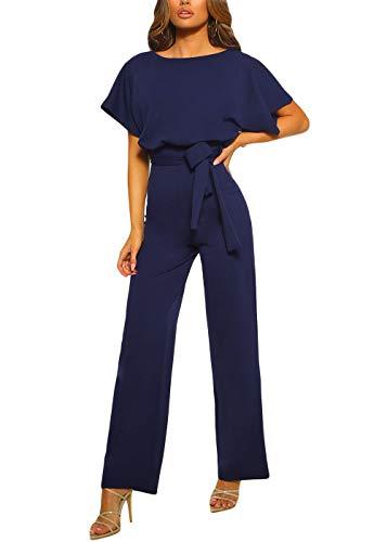 Happy Sailed Damen Langarm O-Ausschnitt Elegant Lang Jumpsuit Overall Hosenanzug Playsuit Romper ,Blau,L