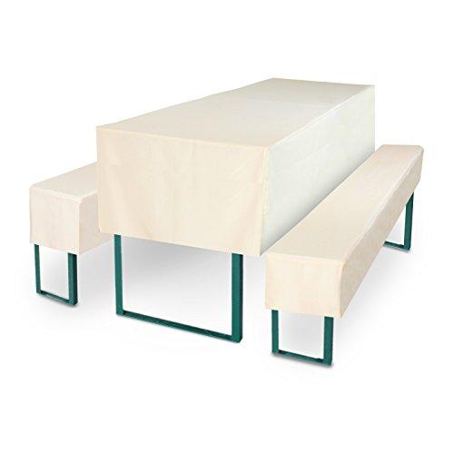 Bierbankhusse Set 3tlg. für 50 cm Tischbreite in der Farbe Creme