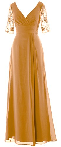 MACloth Women Half Sleeves Long Mother of the Bride Dress V Neck Formal Gown Gold