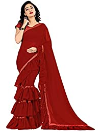 0020d7ab21 FKART Women's Georgette Ruffle Sarees For Women Ruffle Saree With Blouse  Piece (Ruffle)