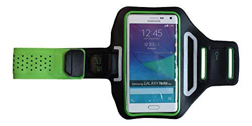 Pulsera Deportiva Fitness Cover para Huawei Y6 II Compact, Brazo del teléfono móvil Funda Ligera, Manga Plana Jogging Unisex, Dealbude24 Trendy L Verde