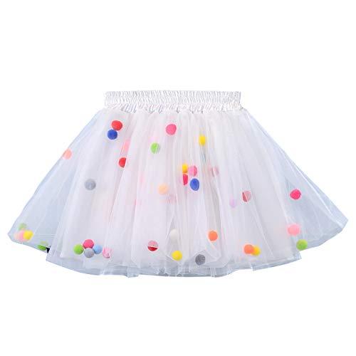 HAPPY CHERRY Baby Mädcehn Tüllrock Mit Süß kleinball Ball Tanzkleid Ballett Rock Tütü Tanz Tutu Petticoat Clubwear Ruffle Unterrock Kostüm Tüllrock in Weiß Größe ()