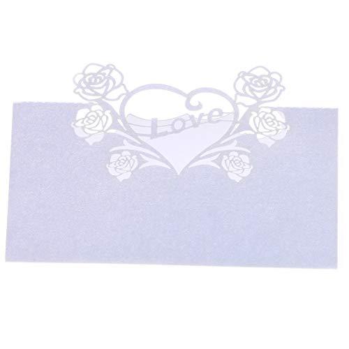 YU FENG 60 stücke Rose Liebe Herz Hohl Hochzeit Tischkarten Name Tischkarten für Hochzeit Lädt Party (EIS Weiß)