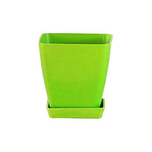 KJUILO. Pot de Fleurs carré en Fibre de Bambou avec Plateau Vert 10 cm, Vert Clair, 1 pcs
