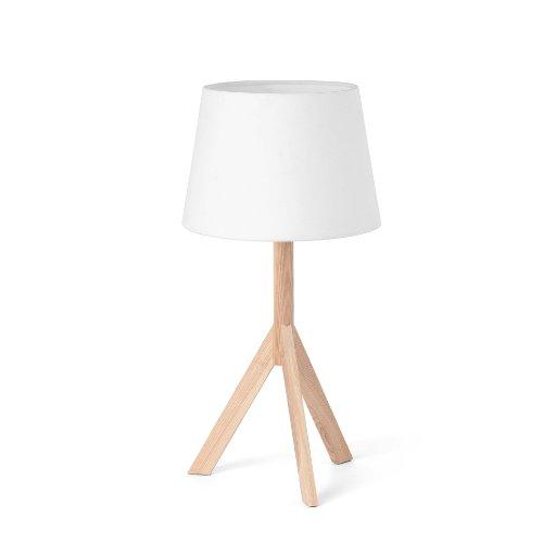 Faro Barcelona Hat 28408 - Sobremesas y lámparas de pie, 40W, madera y pantalla de tela, color blanco