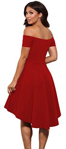 La Vogue Robe Courte Évasé Swing Bustier Épaule Dénudé Femme Vintage Rouge