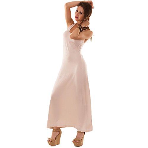 Toocool - Abito lungo donna vestito vestitino vogatore canotta elasticizzato nuovo AS-1126 Beige