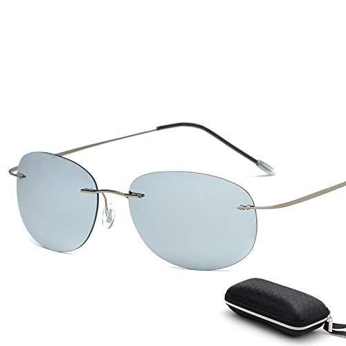 Young shinee Sportbrillen Mit Etui Polarized Titanium Silhouette Sonnenbrillen Polaroid Gafas Herren Sonnenbrillen für Männer (Farbe : ZP3225 with case C9)