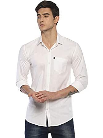 LEVIZO 100% Cotton Twill Soft Finish Solid Casual Shirt Full Sleeves for Men White Size M