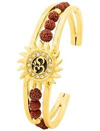 Voylla Gold Plated Om Cuff Bracelet With Faux Rudraksha