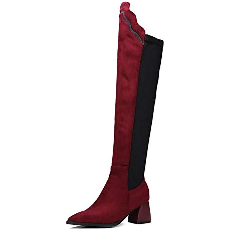 HAOLIEQUAN Plus La Taille 32-48 Bureau Dame Cuisse Bottes Hautes Patchwork Patchwork Hautes Chaussures Femmes Mode Chaude Talons... - B07JNT4D1L - d2d740