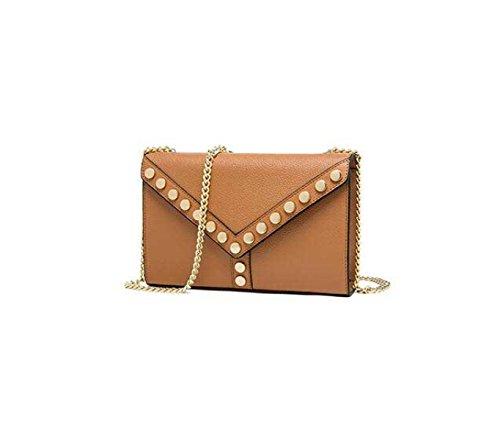 Genuine Leather Rivetti Borse A Catena Piccoli Chiodi Rotondi Spalla Sacchetto Del Pranzo Decorato Messenger Bag Brown