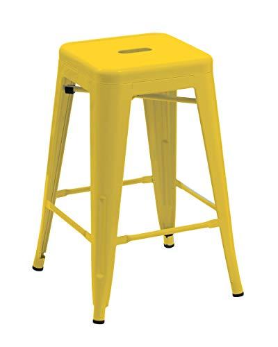 1x Stuhl Hocker Metall Barhocker Gelb Industry Design Farbwahl Küchenstuhl STAPELBAR Esszimmerstuhl Retro