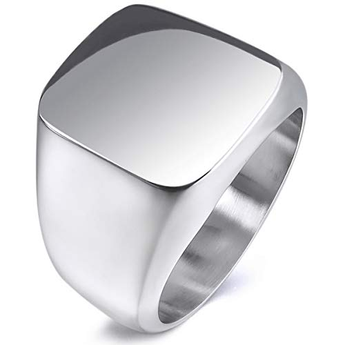 MunkiMix Edelstahl Ring Silber Ton Polished Siegel Signet Größe 57 (18.1) Herren