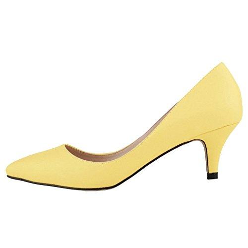 MERUMOTE , Petit talon femme Amarillo - Yellow-Matte
