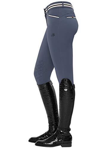SPOOKS Damen Reithose Vollbesatz, leichte Damenreithose Reithosen Turnierreithose Vollbesatzreithose - Ina Light Knee Grip Blue XL