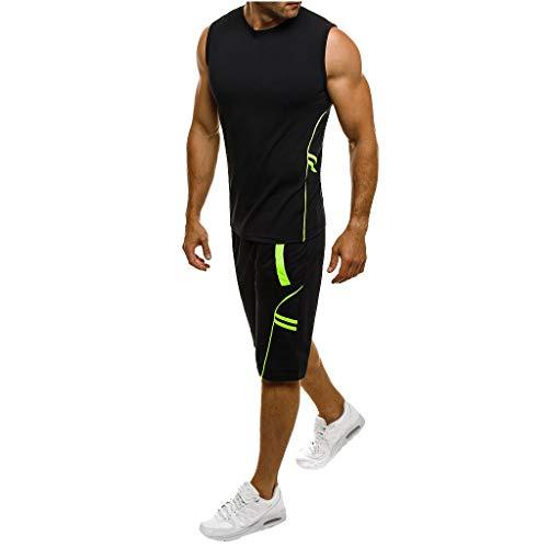EUCoo Uomo T Shirt Due Pezzi Senza Maniche Pantaloncini Set Colore Solido Sportivo Gilet Set Camicia Manica Corta Tee Set(Nero,Large)