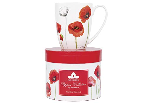 Ashdene flowers - Poppies - Fine Bone China Cup Mug Porzellantasse Tasse Becher tazza taza 11cm 350ml, by Jenny Phillips, Gift box, best quality ASHDENE, Australia Bone China-box