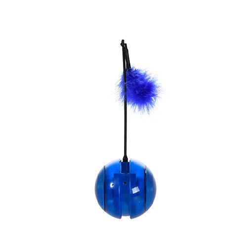 QNMM Interaktive Katze Spielzeug Pet Spielzeug Vocal Music Blitzrad Tumbler DREI-In-One (Licht, Feder, Roller) Elektrische Pet Spielzeug (Ohne Batterie),Blue