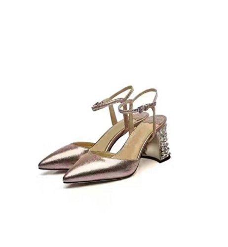 Orteils Pointe Talon épais Chaussures Strass gold